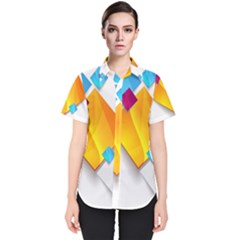 Colorful Abstract Geometric Squares Women s Short Sleeve Shirt
