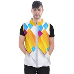Colorful Abstract Geometric Squares Men s Puffer Vest