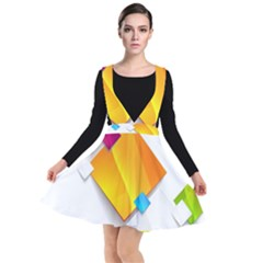 Colorful Abstract Geometric Squares Plunge Pinafore Dress