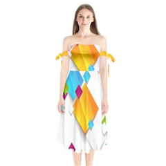 Colorful Abstract Geometric Squares Shoulder Tie Bardot Midi Dress