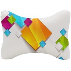 Colorful Abstract Geometric Squares Seat Head Rest Cushion