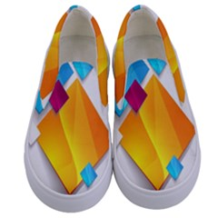 Colorful Abstract Geometric Squares Kids  Canvas Slip Ons