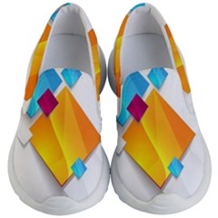 Colorful Abstract Geometric Squares Kid s Lightweight Slip Ons