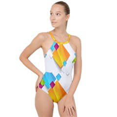 Colorful Abstract Geometric Squares High Neck One Piece Swimsuit