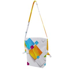 Colorful Abstract Geometric Squares Folding Shoulder Bag