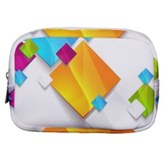 Colorful Abstract Geometric Squares Make Up Pouch (small)