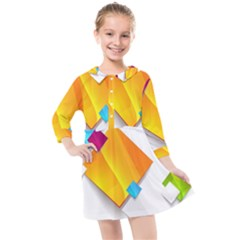 Colorful Abstract Geometric Squares Kids  Quarter Sleeve Shirt Dress