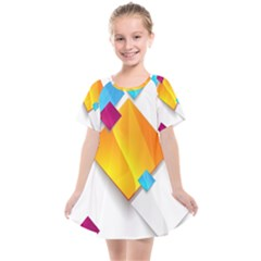 Colorful Abstract Geometric Squares Kids  Smock Dress