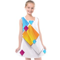 Colorful Abstract Geometric Squares Kids  Cross Back Dress