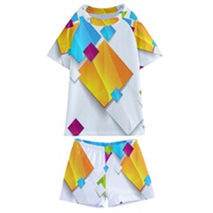 Colorful Abstract Geometric Squares Kids  Swim Tee And Shorts Set