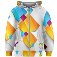 Colorful Abstract Geometric Squares Kids Zipper Hoodie Without Drawstring