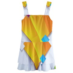 Colorful Abstract Geometric Squares Kids  Layered Skirt Swimsuit