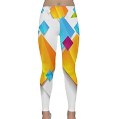Colorful Abstract Geometric Squares Lightweight Velour Classic Yoga Leggings