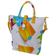 Colorful Abstract Geometric Squares Buckle Top Tote Bag