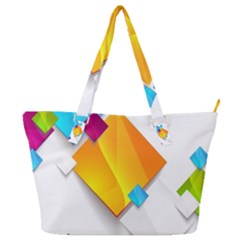Colorful Abstract Geometric Squares Full Print Shoulder Bag