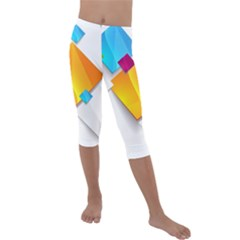 Colorful Abstract Geometric Squares Kids  Lightweight Velour Capri Leggings