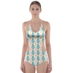 Christmas Tree Cut Out One Piece Swimsuit