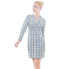 Christmas Tree Button Long Sleeve Dress