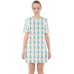 Christmas Tree Sixties Short Sleeve Mini Dress