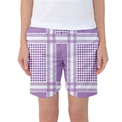 Purple Geometric Headdress Women s Basketball Shorts by Mariart