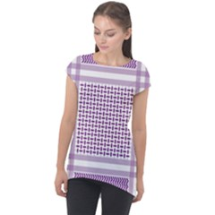 Purple Geometric Headdress Cap Sleeve High Low Top by Mariart