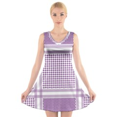 Purple Geometric Headdress V Neck Sleeveless Dress by Mariart