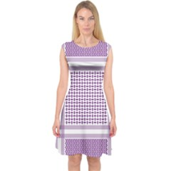 Purple Geometric Headdress Capsleeve Midi Dress