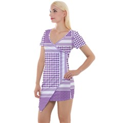 Purple Geometric Headdress Short Sleeve Asymmetric Mini Dress