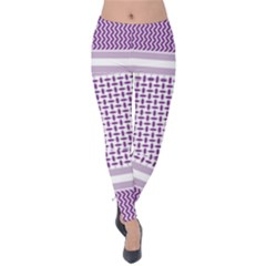Purple Geometric Headdress Velvet Leggings by Mariart