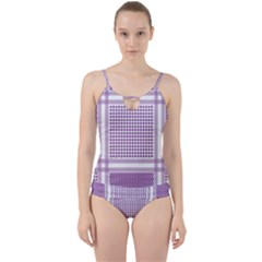 Purple Geometric Headdress Cut Out Top Tankini Set