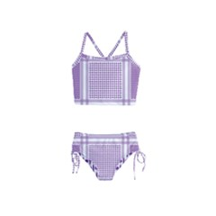 Purple Geometric Headdress Girls  Tankini Swimsuit