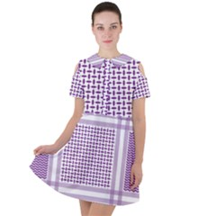 Purple Geometric Headdress Short Sleeve Shoulder Cut Out Dress  by Mariart