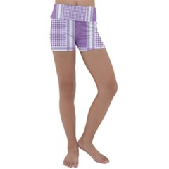 Purple Geometric Headdress Kids  Lightweight Velour Yoga Shorts by Mariart