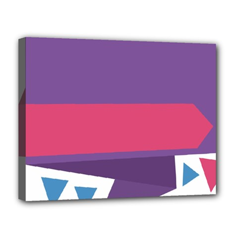 Triangle Fragment Ribbon Title Box Canvas 14  X 11  (stretched)