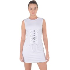Black And White Abstract Pattern Lace Up Front Bodycon Dress