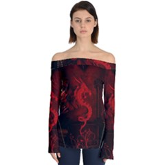 Wonderful Red Chinese Dragon Off Shoulder Long Sleeve Top by FantasyWorld7