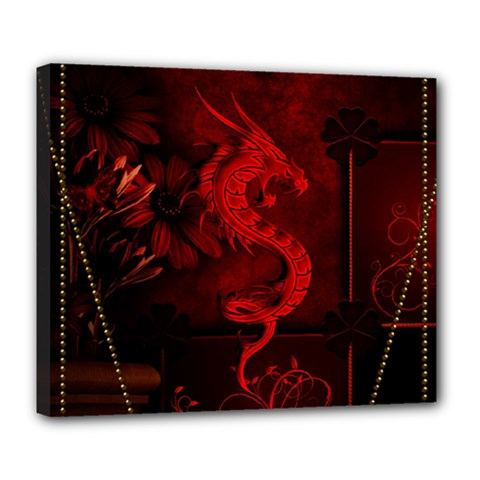Wonderful Red Chinese Dragon Deluxe Canvas 24  X 20  (stretched)