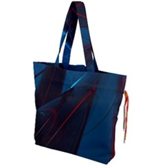 Abstract Red Net Drawstring Tote Bag by Bejoart