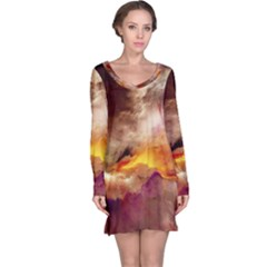 Abstract 3d Graphics Psychedelic Nebula Space Long Sleeve Nightdress
