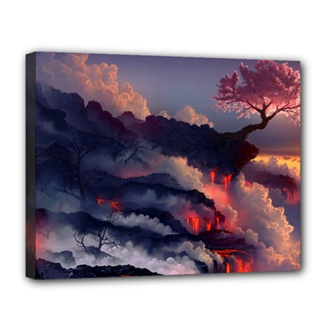 Landscapes Cherry Blossoms Trees Sea Lava Smoke Rocks Artwork Drawings Canvas 14  X 11  (stretched)