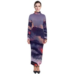 Landscapes Cherry Blossoms Trees Sea Lava Smoke Rocks Artwork Drawings Turtleneck Maxi Dress