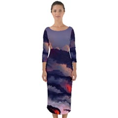 Landscapes Cherry Blossoms Trees Sea Lava Smoke Rocks Artwork Drawings Quarter Sleeve Midi Bodycon Dress