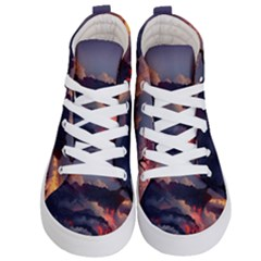 Landscapes Cherry Blossoms Trees Sea Lava Smoke Rocks Artwork Drawings Kid s Hi Top Skate Sneakers