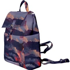 Landscapes Cherry Blossoms Trees Sea Lava Smoke Rocks Artwork Drawings Buckle Everyday Backpack