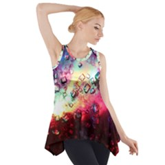 Abstract Colorful Psychedelic Color Side Drop Tank Tunic