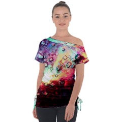 Abstract Colorful Psychedelic Color Tie Up Tee