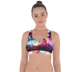 Abstract Colorful Psychedelic Color Cross String Back Sports Bra