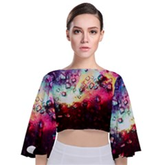Abstract Colorful Psychedelic Color Tie Back Butterfly Sleeve Chiffon Top