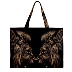 Animals Angry Male Lions Conflict Zipper Mini Tote Bag