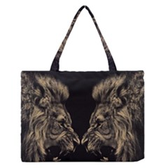 Animals Angry Male Lions Conflict Zipper Medium Tote Bag by Bejoart